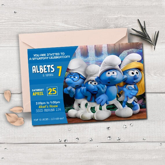 Smurfs birthday smurfs invitation smurfs party supplies