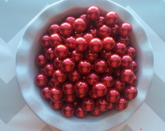 20mm Red Chunky Beads Bubble Gum Pearls (A60)