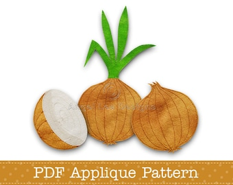 Onion Applique Template PDF Applique Pattern Includes Whole Onion With Stem, Onion Without Stem and Onion Cut in Half