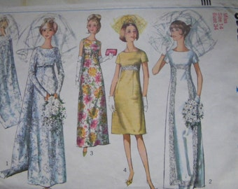 1960s Wedding Dress pattern Simplicity 6352 bust 34