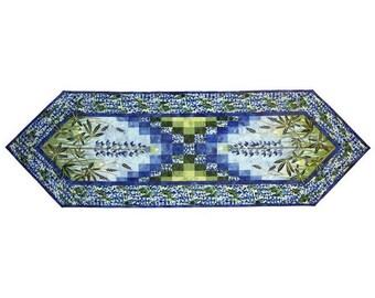 Wildfire Designs Alaska Field of Blue Lupine Flower Table Runner Applique Quilt Pattern
