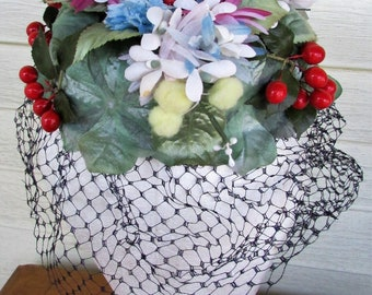Vintage 1950's Floral Hat 1940-50s MR HENRY Silk Floral Berries Church Wedding Black Netting Pillbox Hat
