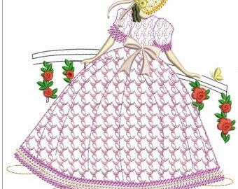 "Southern belle machine embroidery download 4 different sizes ( 7x7"" 6X6""  5X5"" 3.4  X3.4 hoop)"