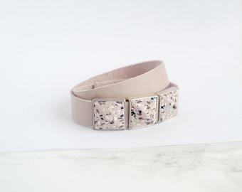 Beige light pink leather bracelet for women Wrap Leather bracelet Women leather bracelet Statement jewelry Pyramid Modern Geometric jewelry