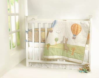 Above & Beyond Personalized Baby Bedding Set | Gender Neutral | Hot Air Balloons Animal Theme Crib Nursery Bedding- Free Personalization