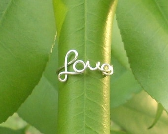 SALE! Silver wire LOVE ring