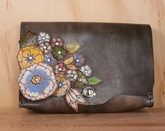 Waist Bag - Leather Convertible Clutch in the  Flower Garden Pattern with leather flowers - Clutch, Bum Bag, Crossbody or Wristlet