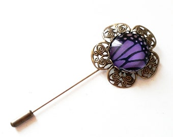 fibula bronze flower and Purple Butterfly