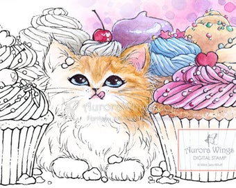 Digital Stamp - Cupcake Kitten - Instant Download - digistamp - Animal Whimsy Line Art for Cards & Crafts by Mitzi Sato-Wiuff