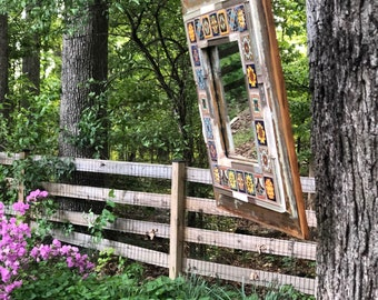 Rustic mexican tile mirror