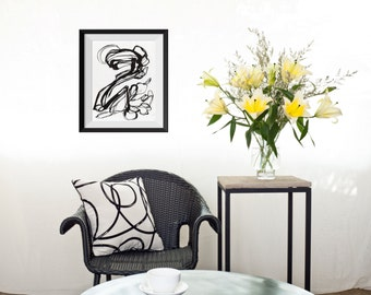 Abstract ORIGINAL Painting, Black and White Painting, Black Line Painting, Abstract Ink Painting, Black Ink Painting, Swirling Black Ink