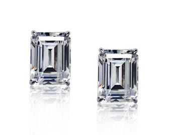 Any Color 14K Gold Cubic Zirconia Emerald Cut Stud Earrings