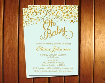 Mint and Gold Baby Shower Invitations, Boy Invite, Oh Baby Shower Invitation
