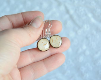 Birch bark earrings, natural wood earrings, birch wood jewelry, real birch craft gift for her, natural dangle small delicate earrings
