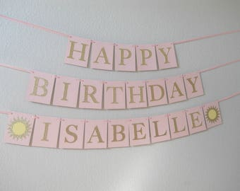 You Are My Sunshine Birthday Banner, Sunshine Birthday Decorations, Pink and Yellow You Are My Sunshine, Sunshine First Birthday Banner