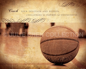 Basketball Coach Gift - Personalized Basketball Coach Keepsake - Basketball Photo - Coach Retirement Gift - Sports Artwork