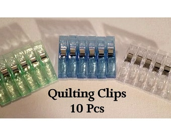 10 Jumbo Wonder Clips, Large Quilting Clips, Binding Clips, Plastic Hardware, Sewing Notions, 10 Pcs