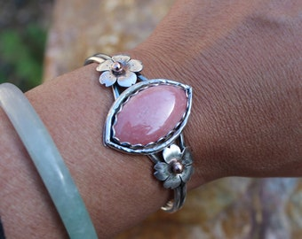 Cherry Blossom Cuff With Rhodochrosite Stone, Sterling silver Bold cuff, Metalsmithed and Handcrafted by Hapa Girls