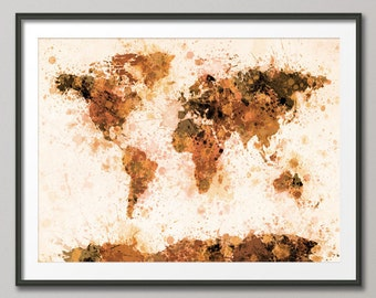 Paint Splashes Map of the World Map, Art Print (800)