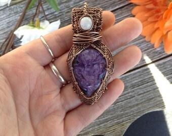 Purple charoite in oxidized copper, moonstone accent, boho pendant, necklace