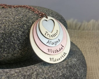 Mother's Necklace Kids Name Necklace Mothers Jewelry New Mom Jewelry Personalized Jewelry Custom Jewelry Copper Jewelry New Mom Pendant