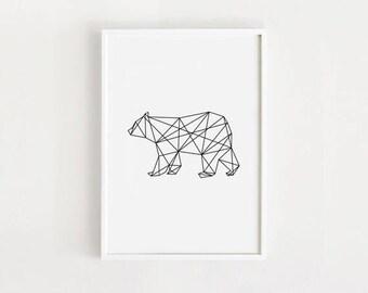 Printable Bear art Geometric wall art deco Home decor print 50x70 poster Black and white Nursery art Digital print Instant download