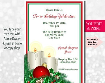 Christmas Invitation, Christmas Party Invitation, Christmas Invite, Printable, Instant Download, Diy, Holiday Invite, Holly & Berry