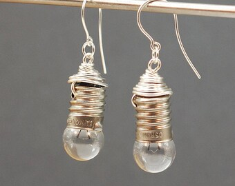 Light Bulb Earrings- Silver Upcycled Steampunk Earrings, Lightbulb Earrings, Steampunk Jewelry, Industrial Jewelry by Tanith Rohe
