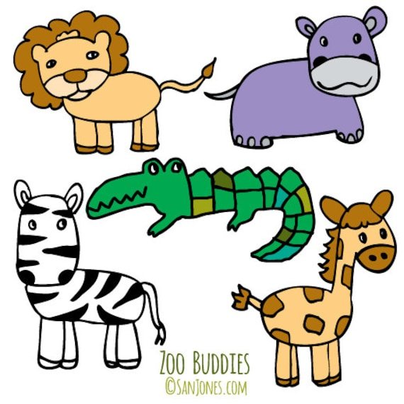 zoo animals clip art hand drawn clipart zoo clipart from rh etsystudio com clipart images of zoo animals clip art baby zoo animals