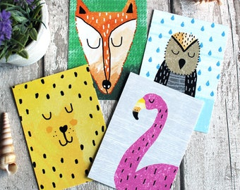 Four postcard prints - FLAMINGO