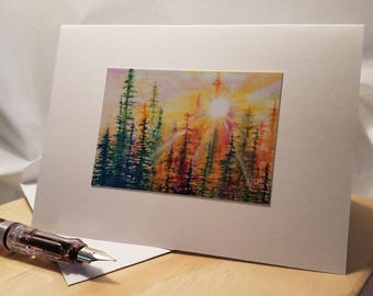 Handmade Original watercolor painting  greeting card 'Peeking into Heaven 2'-FREE SHIPPING
