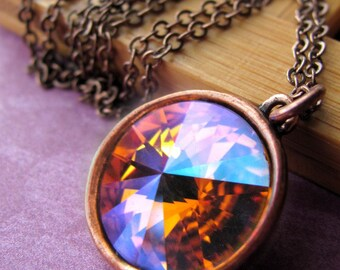 Fire and Ice Crystal Necklace, Swarovski Rivoli Crystal Pendant, Multicolor Orange Amber Yellow Magenta Pink Cyan Blue Antiqued Copper 1122