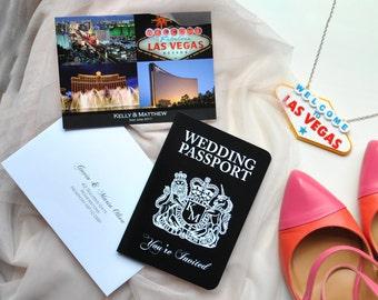 Las Vegas Wedding Passport Invitation with Matching Postcard RSVP Customised