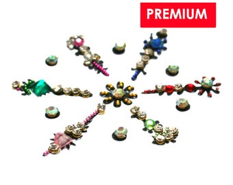 Bindi Forehead Decorations Face Jewels Multi Coloured Bindis Rhinestone Jewels