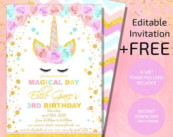 Unicorn Invitation, Unicorn Birthday Invitation, Glitter Unicorn Invitation, Floral Unicorn Invite Instant Download, Magical Unicorn Digital