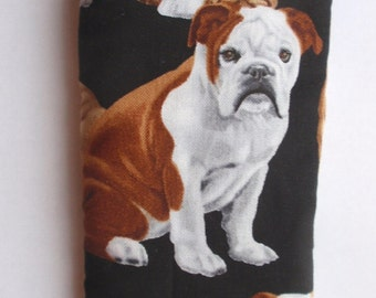 ENGLISH  BULLDOGS all over Hand made cotton  glasses cases