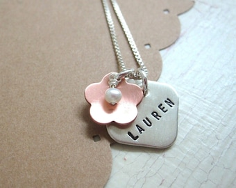 Flower Power Square .... Girls Hand Stamped Personalized Name Necklace
