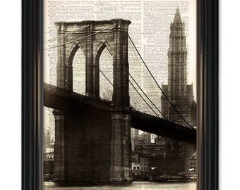 Brooklyn Bridge New York  dictionary art print. Classic New York Cityscape print on upcycled Vintage Dictionary Page. Buy 4 get 2 FREE!