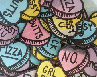 "Conversation Heart Patches--""No."""