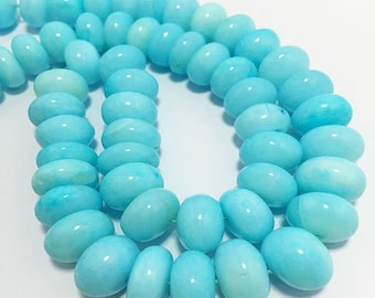 "110 Carat Natural Peruvian Opal Plain Rondelle 8 To 10 mm 8""/Semi Precious Beads/Peruvian Opal /Gemstone Beads/Natural Beads/Sky Beads"