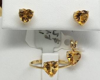 14K Yellow Gold Natural Heart Shape Citrine Ring Earrings and Pendant Set