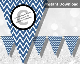 Navy Blue Chevron Bunting Pennant Banner Instant Download, Party Decorations