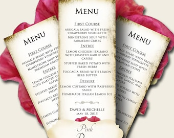 PINK POPPY Wedding Menu, Printable Digital Images, Weddings, Parties, Bridal Shower, Menu,Baby Shower, Birthday, Wedding Decorations