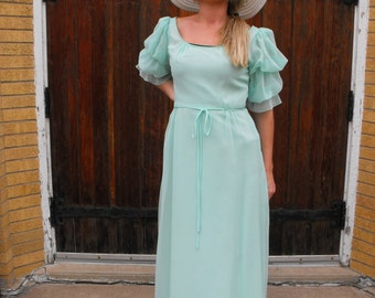 Pale Green Seafoam Formal Gown Vintage 70s Bianchi Dress Chiffon XS