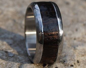 Rustic stainless steel ring with ebony