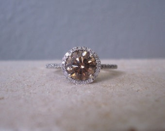 Natural Champagne Diamond Ring set with White Diamond Halo Mount