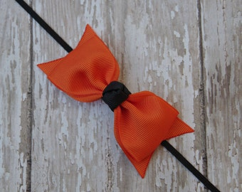 Boutique Halloween Headband Tuxedo Bow Skinny Elastic Headband Infant Headband Autumn Headband Halloween Baby Headband