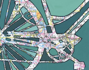 Raleigh - small print - Bicycle art featuring Raleigh, Durham, North Carolina, UNC---archival print of bike art, bicycle map