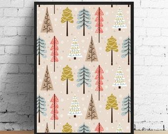Winter Print, Christmas Decor, Kids Room, Christmas Poster, Winter Decor, Christmas Gift, Wall Art, Home Decor, Christmas Print.