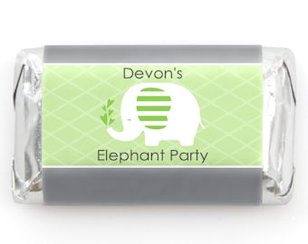 Elephant Mini Candy Bar Wrappers - Personalized Baby Shower & Birthday Party Hershey® Miniature Candy Bar Sticker Labels - 20 Ct